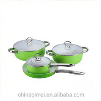 7pcs ceramic coating aluminum cookware set with steel handle