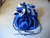 Cheap royal blue and white satin wedding dollar dance bag or bridal dance bag