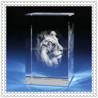 Tiger Engraved 3d Laser Crystal Figurines For Boss Gifts