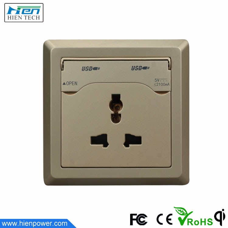 Electrical socket panel mount 5V2.1A USB wall socket outlet AC95V-264V