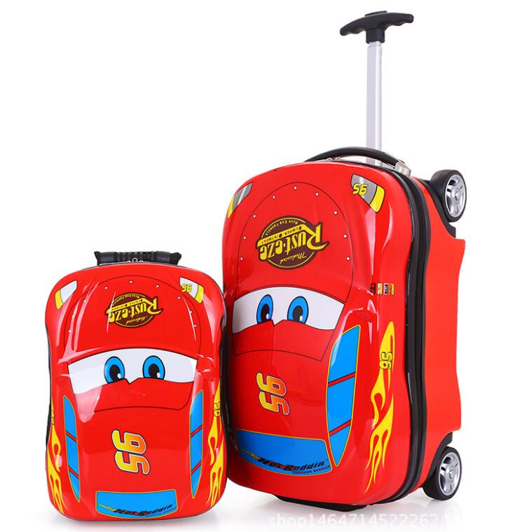 2017 Race Car PC <strong>ABS</strong> Hard Shell Kids Rolling Suitcase School Trendy Trolley Backpack
