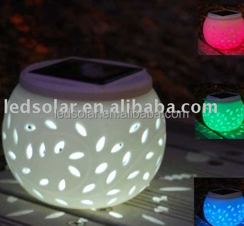 Ceramic Lamp with Solar LED Light for Home Decoration