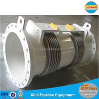 Double bellows hinged gimbal expansion joint with flange connection