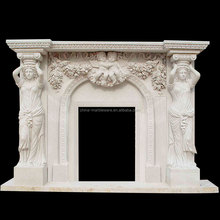 Pure hand made stone fireproof material fireplace mantels