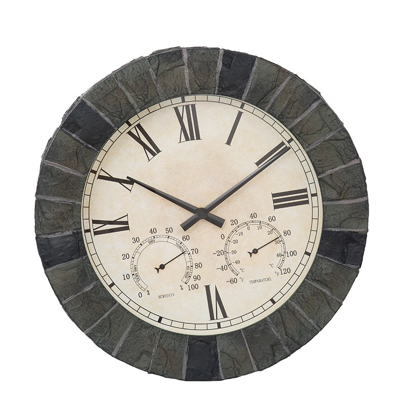 Outdoor Decorative Antique Wrought Iron Station Double Sides Hanging Wall Clock