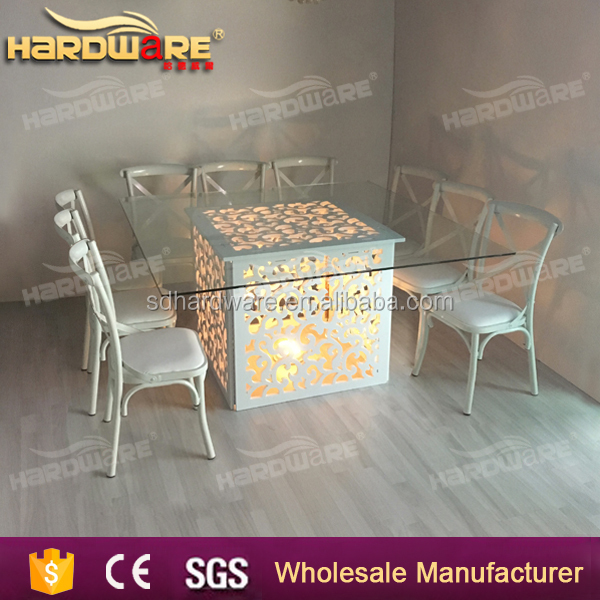 multi-colored led wedding table wooden frame white dining table