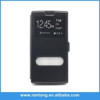 Factory Popular high quality flip leather case for wiko ridge fab with window