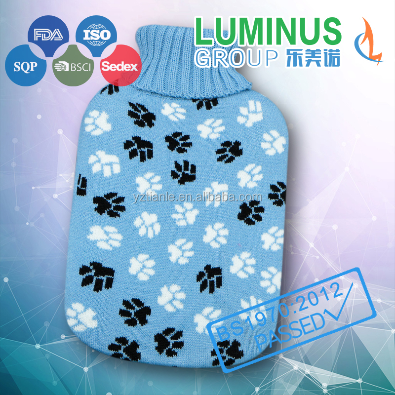 thread jacquard 2L cheap hot water bag with knitted cover