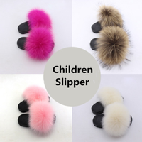 2019 New Design Most Popular Hot Sale Flat Fur Slide Sandal For children