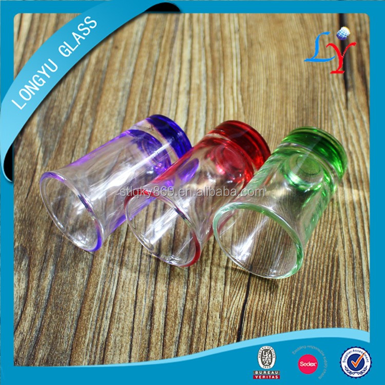 50ml mini wine glass shot glass custom glass cup with colored bottom