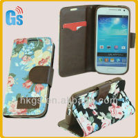 Flower Jean Leather Flip Case For Samsung Galaxy S 4 S4 Mini 9190