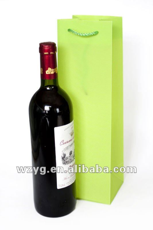plastic PP red wine bottle carrier bag
