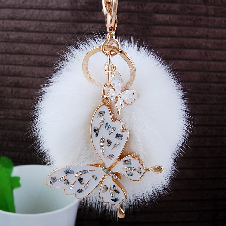 Wholesale Jewelry Fur Pom Pom Keychain Fur Ball Bag Charms With Rhinestone Pearl Fox Head