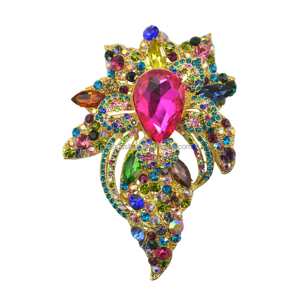 Multi Colorful Crystal Rhinestone Flower Teardrop Brooch Pin Large Size Fashion Jewelry Accessory Big brooch