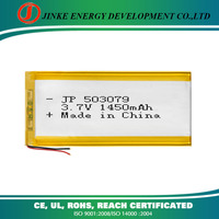 Jinke 503079 3.7v 1450mah rechargeable mobile phone li ion battery pack li-ion with cheap price