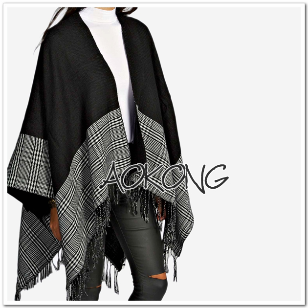New arrival tassel black color houndstooth poncho cape dogstooth blanket coat