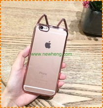 Latest design Ultra thin cat ears TPU mobile phone cover For iphone 6 6s
