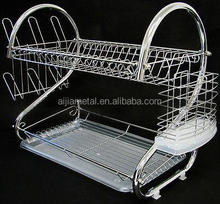 Kitchen accessories storage holders & racks double layer metal dish rack multifunctional organizer shelves tableware drainer