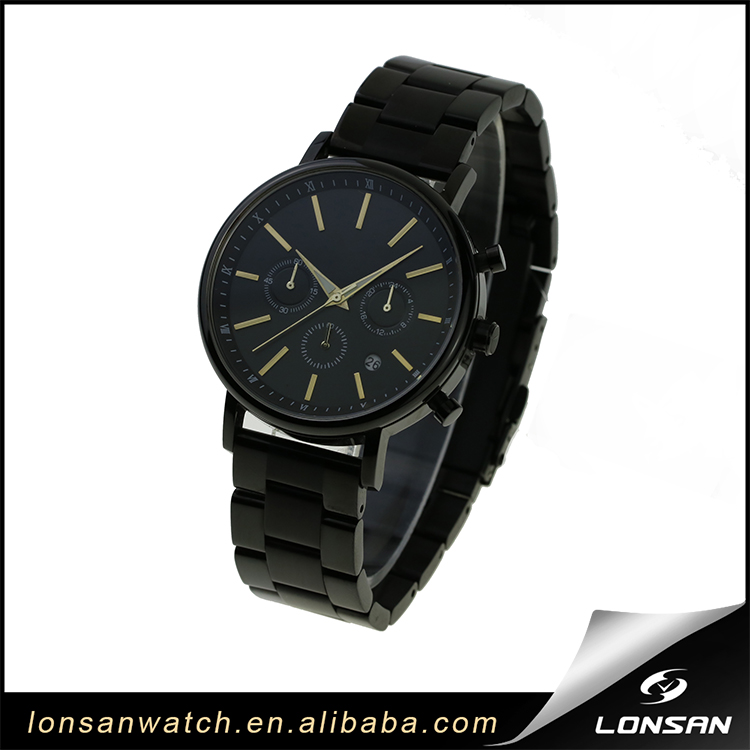calendar window black 316 stainless steel case strap men new styles quartz stainless steel back water resistant watch