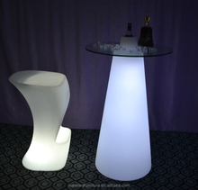 Party led illuminated cocktail table high top plastic outdoor light LED cocktail bar table