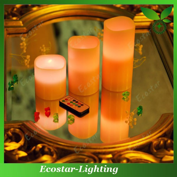 Flameless Wax-Covered LED Votive Candle with Remote Controller