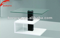 light wood coffee table/ fancy design tempered glass coffee table