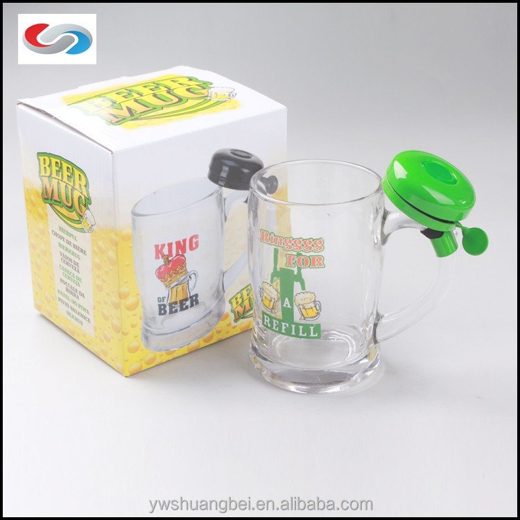 2015 Hot Sale Best Price Glass Beer Mug With Bell, 14OZ Bell Beer Glass