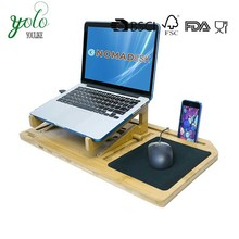 Bamboo Lap Desk Laptop Tablet Smartphone Holder with Removable Stand Mouse Pad