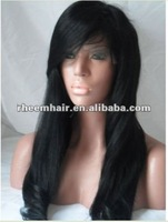Free shipping cheap high quality glueless indian remy hair freepart lace front/front lace wig with side bang wholesale