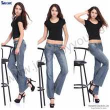 2014 china supplier 100% Original Design Pure Cotton Women Wide Leg Flared Denim Jeans