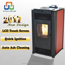 New auto ash clean cheap pellet stoves with color touch screen controller