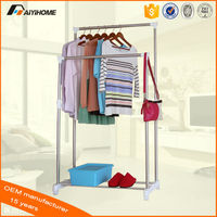 useful adjustable double pole aluminum vertical clothes hanger rack with wheels