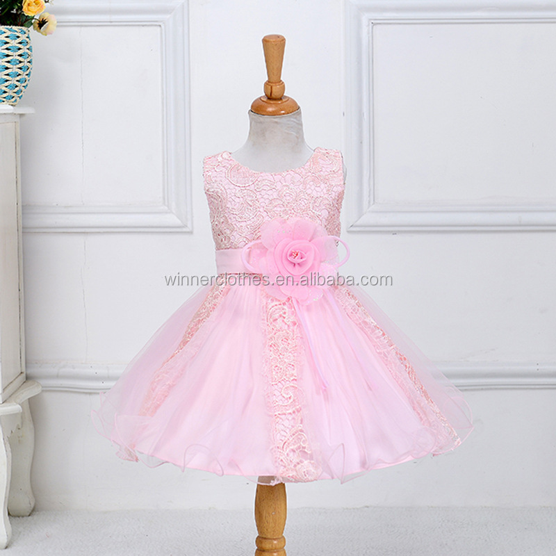 QuanZhou Winner Flower Girl Princess Pageant Wedding Party Formal Birthday Kids Rose Bow Dresses