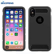Pattern Customized Logo Impact Resistant Fully Protective Rugged Carbon Fiber Case Phone Cover For iPhone X