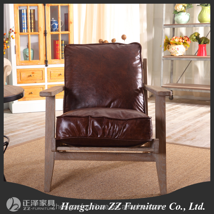 Hot Selling <strong>Antique</strong> Style One Seats Living Room PU Leather Sofa Chair
