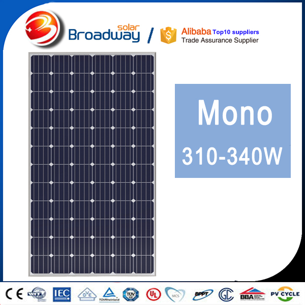 Broadway in Colombia Market 310 WP 4bb Cell PV Solar Module Mono 310W 4BB Solar Panel Yingli