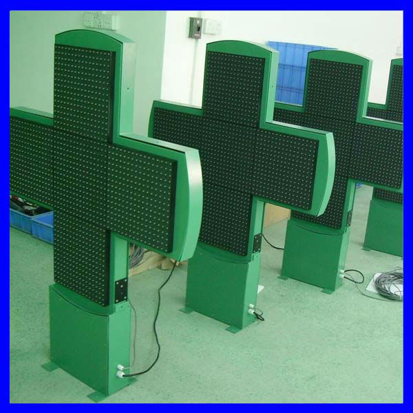 $630 2-side p10 green led pharmacy cross sign