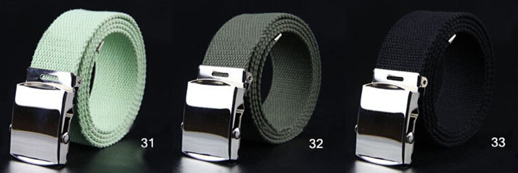 fp1506 Unisex Solid Men's Web Military Canvas Belt With Silver Slider Buckle