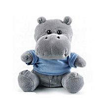 Wholesale Stuffed Animals Blue Hippo Plush Toy with Custom T-Shirt