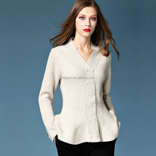 Petal-shaped beige white lady party cardigan coat double breasted sexy V-neck pit knitting normal thick women prom sweater coats