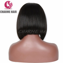 Fashion silky straight short bob style glueless full lace human hair wigs