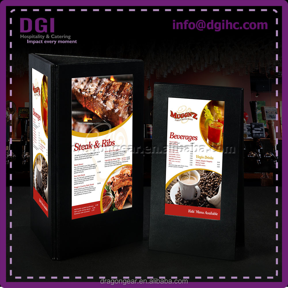 Top Quality Black New hot product durable leather menu cover with card holder in various sizes