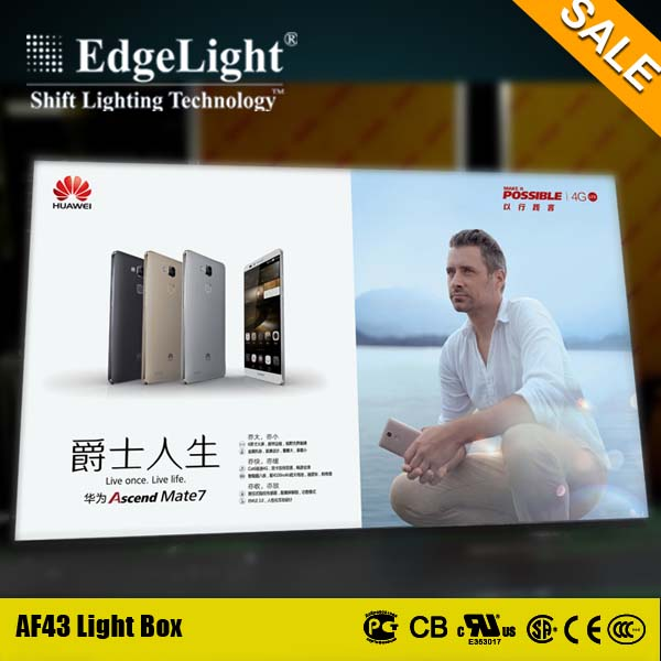 Edgelight aluminum fabric advertising sign boards for real estate agent window show