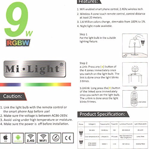 Mi light smartphone E27 9w RGBW color changing smart led bulb wifi