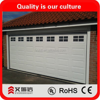 Sectional garage doors and insulated sectional garage doors and garage door window
