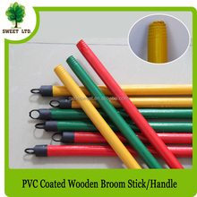 hot sales wooden broom stick poles handle 120cm length with plastic black hook