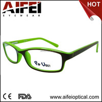 fashion double color CP injection kids spectacle frames with spring hinge