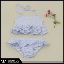 Wholesale Ruffled Kids Two Piece Seersucker Swimsuit