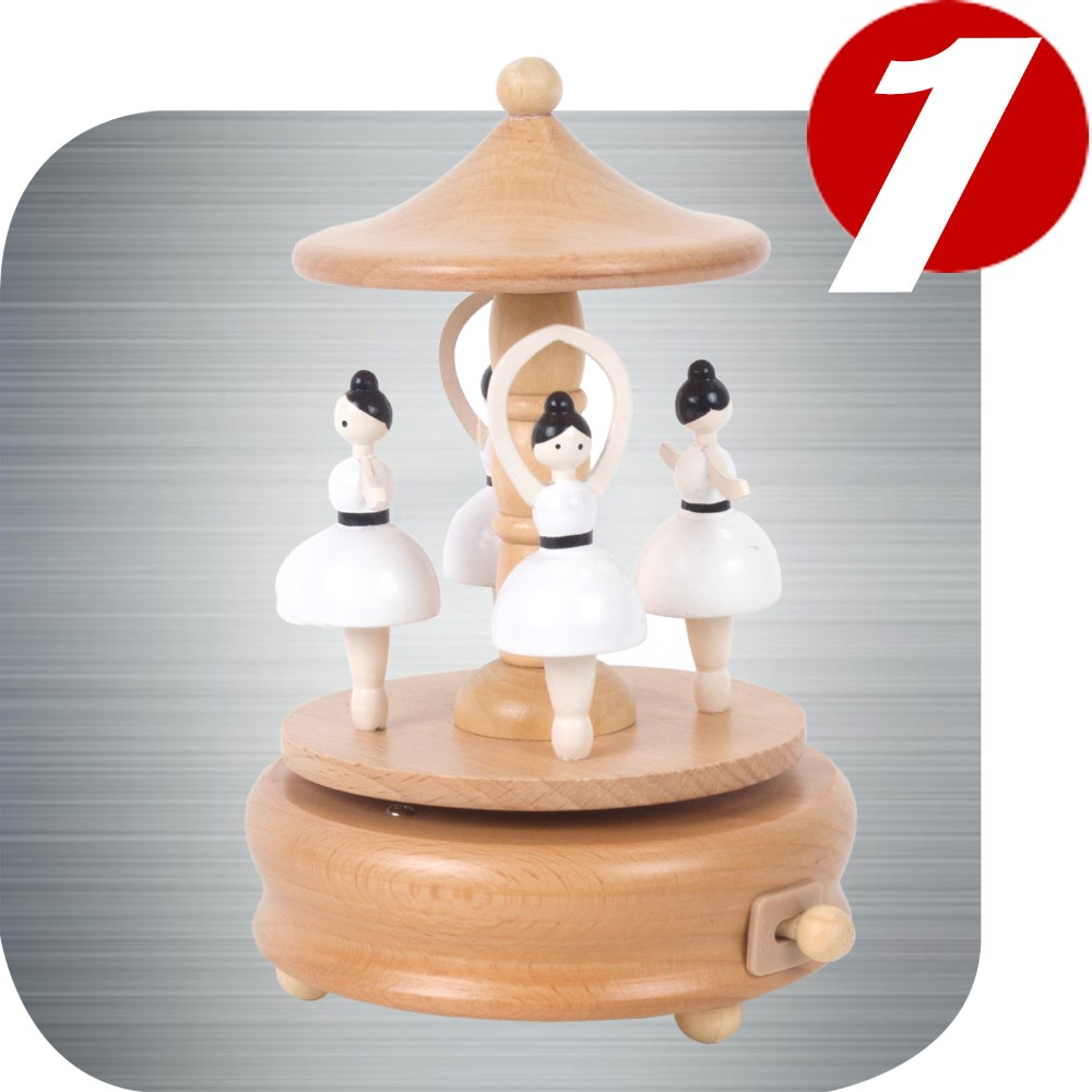 Ballerina Wooden Gift Nature Music Box Parts and base made from real wood