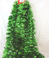 Colored Metallic Christmas Tinsel Icicles,PET/PVC Green Decorative Tinsel Wholesale